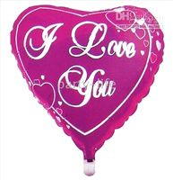 Wholesale Hot pink Heart with I Love you Letter Helilum Foil Balloons for Valentines Day gift