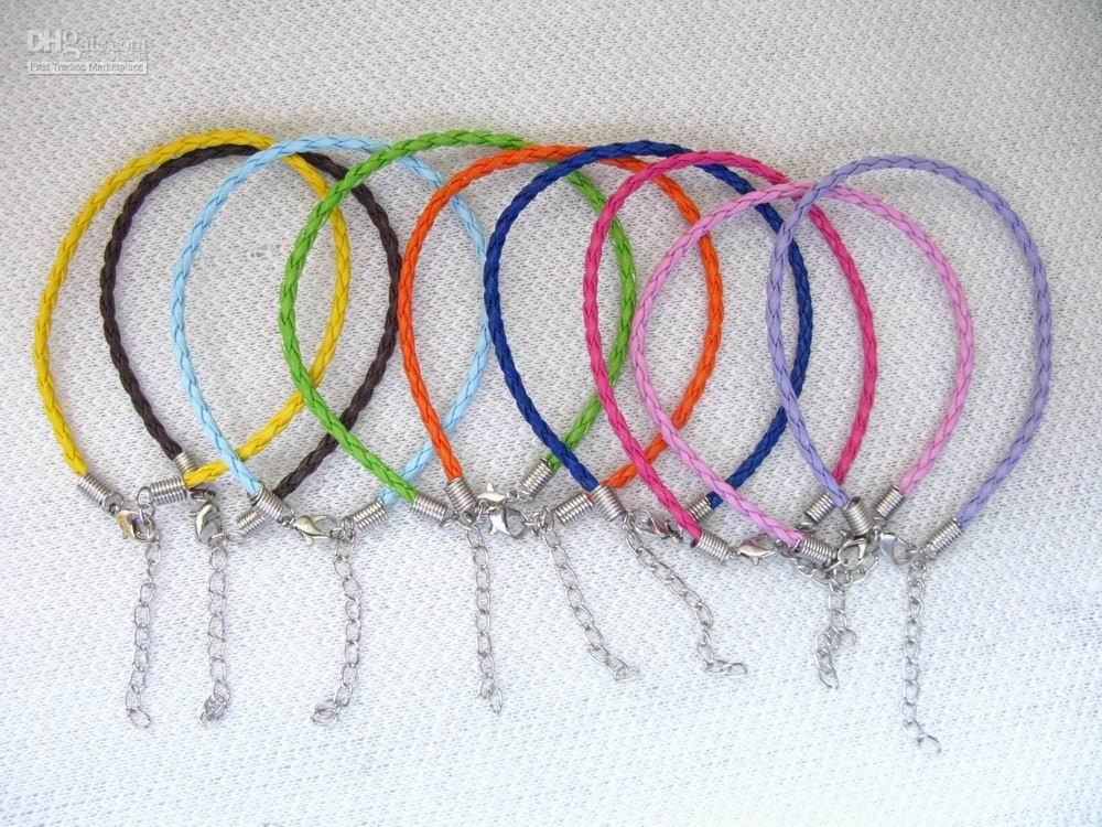 Wholesale 100pcs braided leather bangle cord with lobster clasp send by china post air