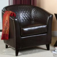 Wholesale Quilted Brown Leather Tub Accent Chairs