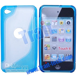 TPU Soft Plastic Centre Hard Skin Case Cover for itouch 4,Baby blue