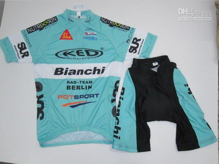 Wholesale Blue Bianchi short sleeve Cycling wear (Shirt+Short)