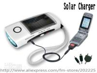 Wholesale Solar LED Torch Flashlight FM Radio Cell Phone Mp3 Mp4 Charger