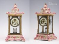 Wholesale clock vintage glass porcelain bronze machine table clock