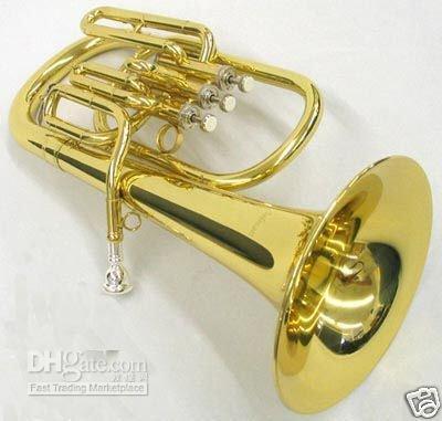 Wholesale Brass Super Bb BARITONE TUBA PISTON HORN W case and retail