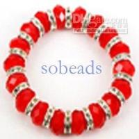 Wholesale chains Crystal Glass Spacer faceted elastic cord Bracelet