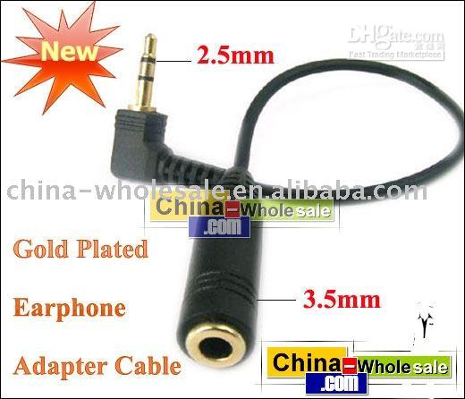 Wholesale Male mm to Female mm Earphone Gold Adapter Cable for MP3 hot selling