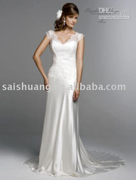 Wholesale tull sleeve Ivory slim informal Bridal Dresses