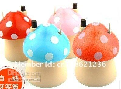 Wholesale pocket Plastic Mushroom Design Automatic Toothpick Holder dispenser Box