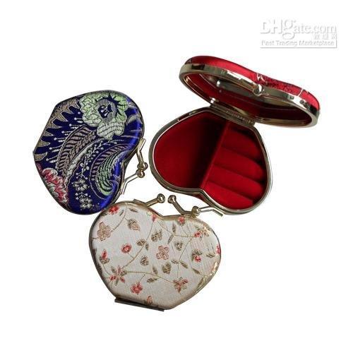 Cheap wholesale brocade jewelry box,trinket box,ring box,bracelet box,necklace set box with mirror,Free Shipping