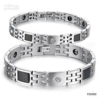 Wholesale fiber glass with health care magnetic steel lovers bangle stainless TS3383