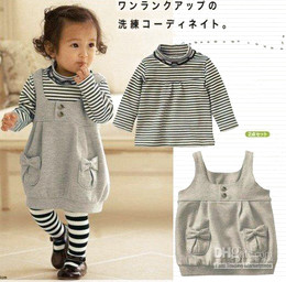 Wholesale baby girl s Black striped shirt Gray strap dress set