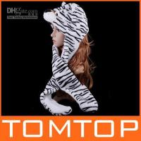Wholesale Fashion lovely Cartoon Animal Hat White Tiger Plush Warm Cap winter Hats Earmuff Scarf Gloves H2743