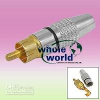 Golden Plated RCA Male Connector Adapter to Coaxial Cable , 1...