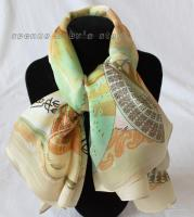 Wholesale 83 CM FAN YELLOW LADIES SILK SQUARE SCARF
