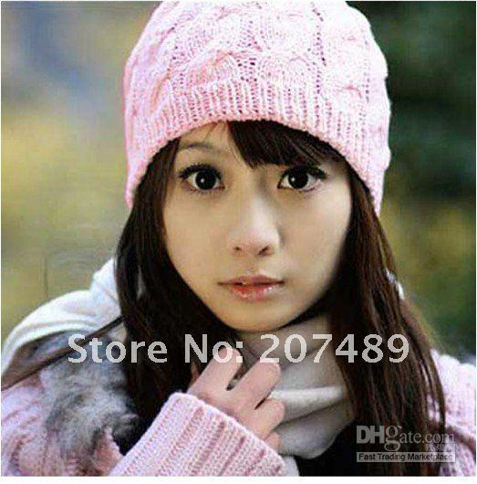 Wholesale Women s Knitting Wool hat Beanie Cap Autumn and Winter Hat multi colors to select