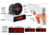 Wholesale New Arrival laser gun target alarm clock gun target alarm novelty clock With LED Display Table Clock