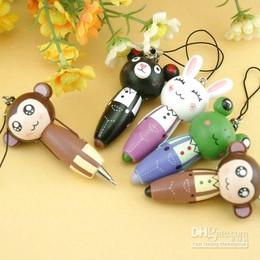 Free shipping wholesale ball-point pen,cute ball pen,wooden ball pen,keychain,cartoon animal mobile phone chain