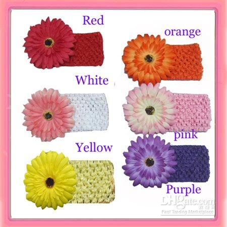 Wholesale Hot sell daisy flower with crochet headband waffle headbands