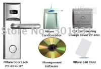 Wholesale Sample RF Mifare Hotel Door Lock System KIT lock card encoder with software mifare card energy saver PY KIT013