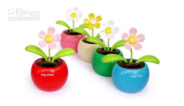 apple swing - Novelty Items Flip Flap Solar Apple Flower magic solar swing flower Solar Electronics car decoration
