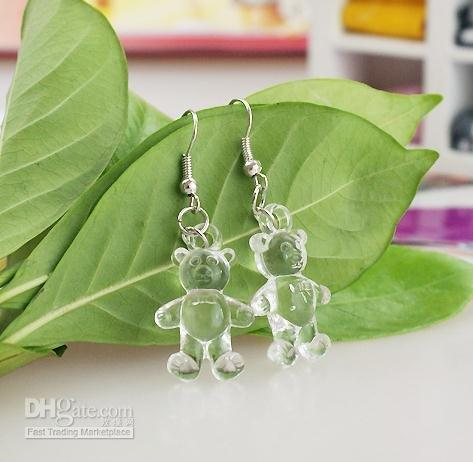 Wholesale 200 pair Transparent Teddy Bear Earrings Acrylic Korea Value Promotional Hot Sale High Quality Classic