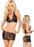 Wholesale Sexy Flashy Sequins Clubwear Metallic Halter Top Skirt Sexy sleepwear Costume Sexy Babydoll Lingerie Sexy Kimono Sexy Costume