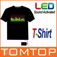 Wholesale Sound Activated Flashing T Shirt Shirts Light Up Down Music Party Equalizer EL LED T Shirt Dropshipping