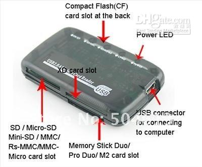Wholesale Pieces New USB ALL IN ONE MEMORY CARD READER FOR SD CF MMC MS