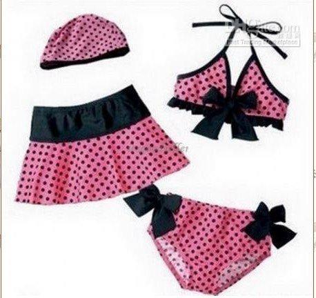 Wholesale new Lovery piece Set Pink Kids Girls Baby Swimwear Bikini Swimsuit Kids Swimwear
