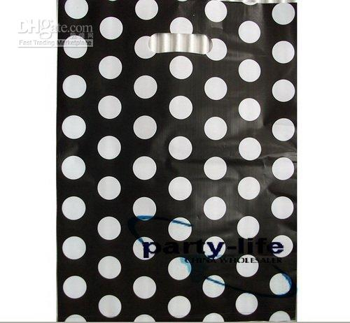 Wholesale 150pcs black With White Dot Plastic Carrier Bags Plastic Shopping Bags Clothes Packing Bags Gift Packing Bags cm cm