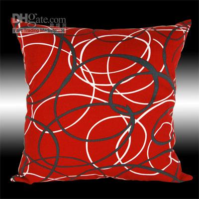 2x Red Decorative Throw Pillow Cases Cushion Covers 17 Replacement Cushions For Wicker Patio ...