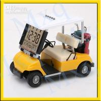 Wholesale new Mini Golf Cart Buggy Alarm Clock Thermometer Yellow