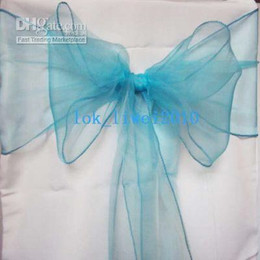 Wholesale Low Price pice X New Blue Organza Chair Sash Bow Cover Banquet Party