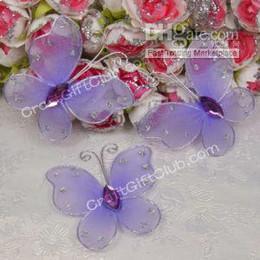 50 Purple Glitter Stocking Butterfly Bridal Decor 5CM