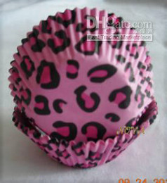 lovely cute 4.5inch 50x33mm 500 pink leopard cupcake liners baking paper cup cupcakes for wedding birthday party