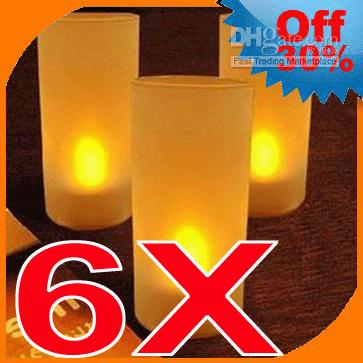 tea cup candles - 6X Led Candles Tea Lights Wedding Party Flameless Cup