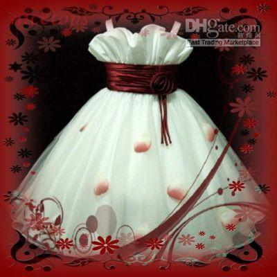 Wholesale - Red White X'mas Wedding Flower Girls Dress Size 8 -10 Ytgh