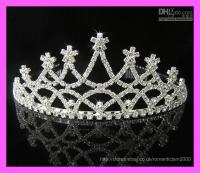 Cheap Wedding Bridal crystal veil tiara crown headband @32