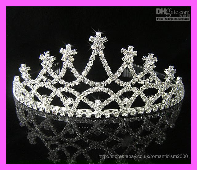 Cheap Wedding Bridal crystal veil tiara crown headband @32