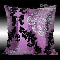 Wholesale 2X PURPLE BLACK SILVER DAMASK PILLOW CUSHION COVERS