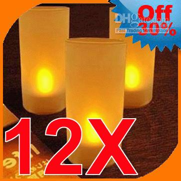 tea cup candles - 12x Led Candles Tea Lights Wedding Party Flameless Cup