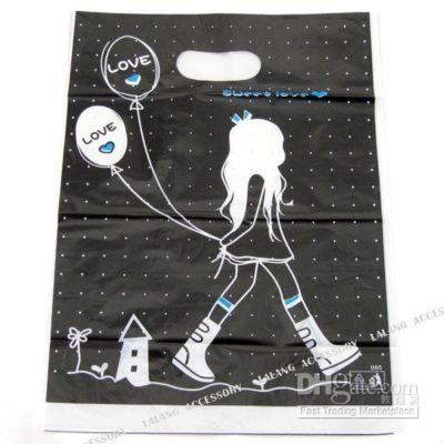 200 noir breloques sac en plastique d'emballage commerçante 120247