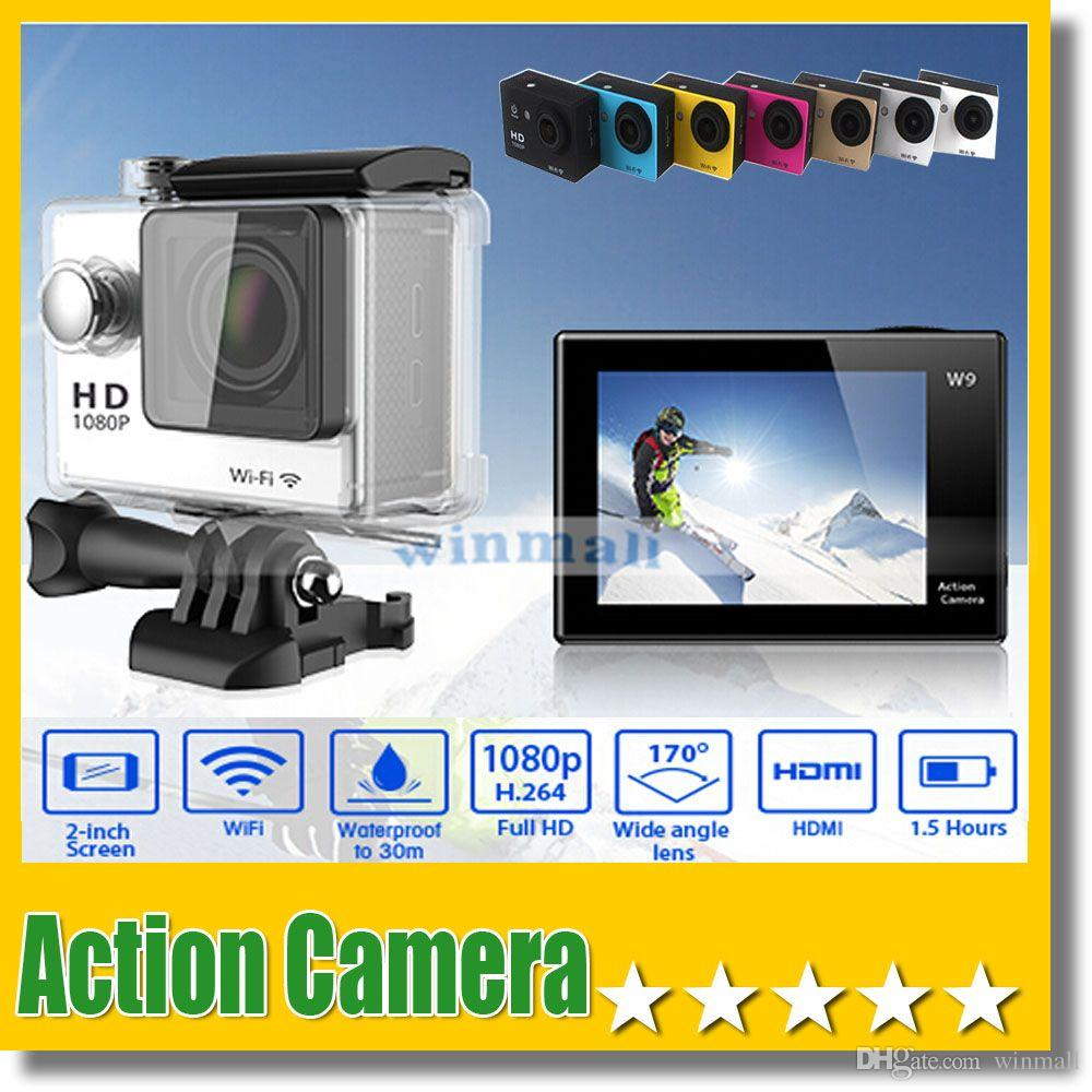 W9 2 inch Screen Wifi Version Action Camera 30M Waterproof 1080P FHD Extreme Sports Mini DV Diving Video Camera