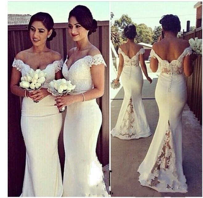 Elegant Long Formal Dresses for Women 2016 Lace Off Shoulder Mermaid Sweep Train Corset Bridesmaid Dresses Covered Button Back Sweep Train
