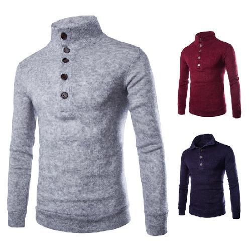 2015 new arrival men's Slim pullover sweater jacket half -neck turtleneck single row of buttons men sweaters man half tide