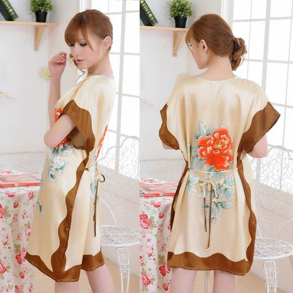Sexy Women Floral Print Dress imitated silk Sleepwear Dress Pajamas Nightgown Free Shipping