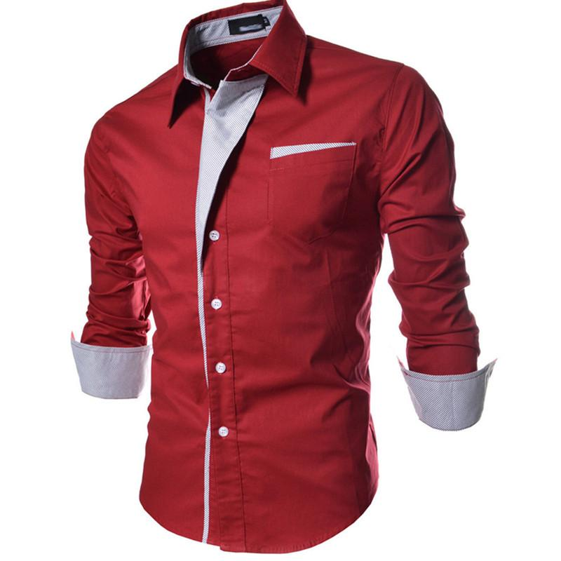 New 4Colors Man Shirts Long Sleeve Single-breasted Pocket Dress Shirts Men Clothing Patchwork Turn-down Autumn Plus Size M-3XL