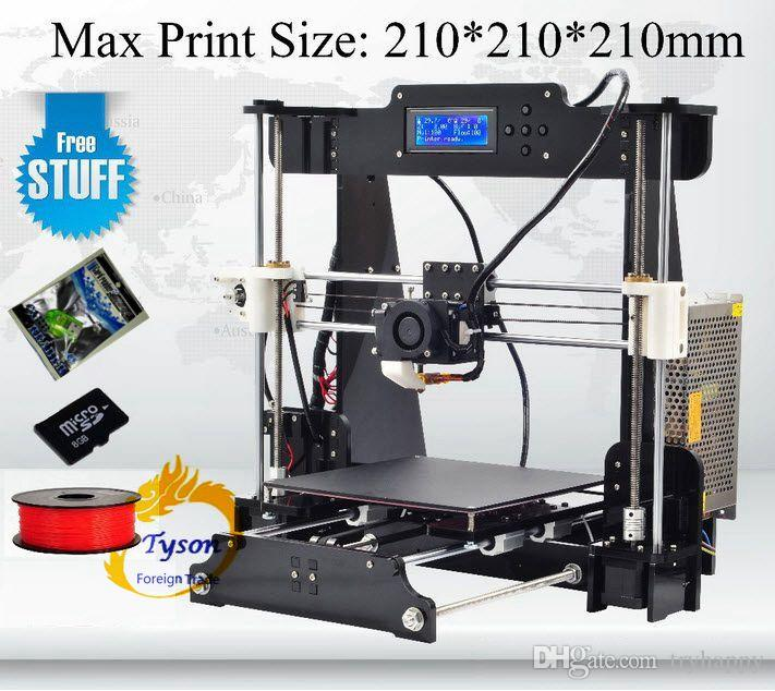 Desktop 3D Printer Prusa i3 Size 210*210*210 mm Acrylic Frame LCD 16G TF Card for gift Selectable 1kg or 2Kg Filaments Fast ship Free