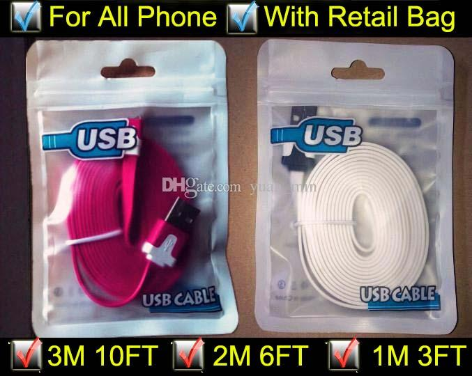 3m 10ft 2m 6ft 1m 3FT Noodle Flat Micro USB Cable Cables Cord Cords USB Charger V8 Charging Line for Android Samsung All phone 4/5/6