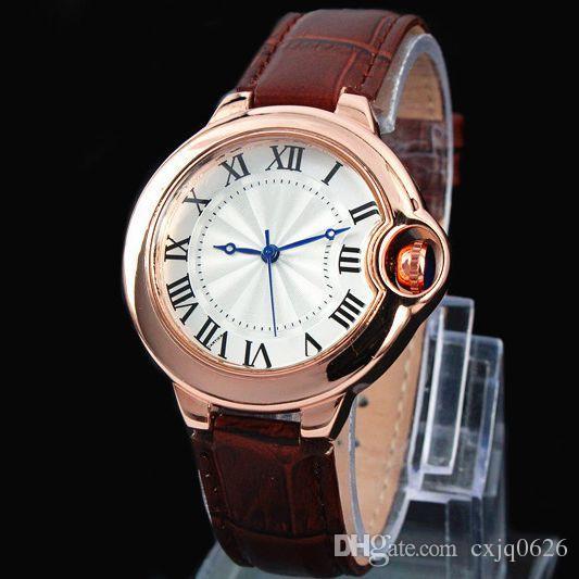 2016 FashionTop Brand Man watch leather wristwatch Women Dress Watch Quartz Clock Steel lovers' watch free shipping